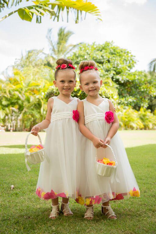 Two flower children at destination wedding