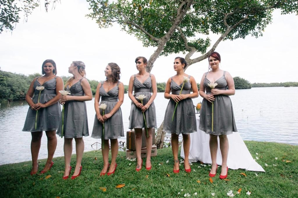 grey bridesmaids dresses with red shoes