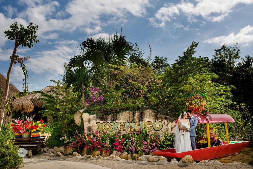 couple outside of Xoximilco, Riviera Maya, Mexico