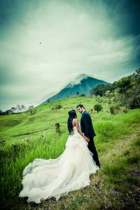 couple standing on central american hill