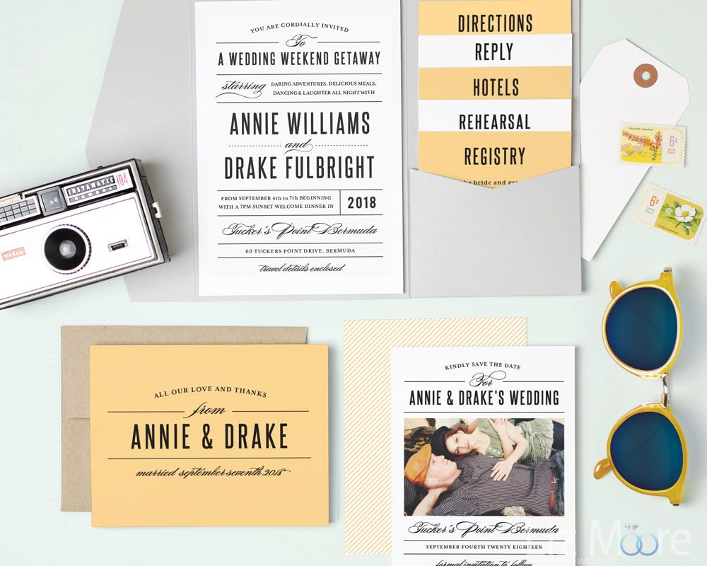 Wedding guest book and matching invitations