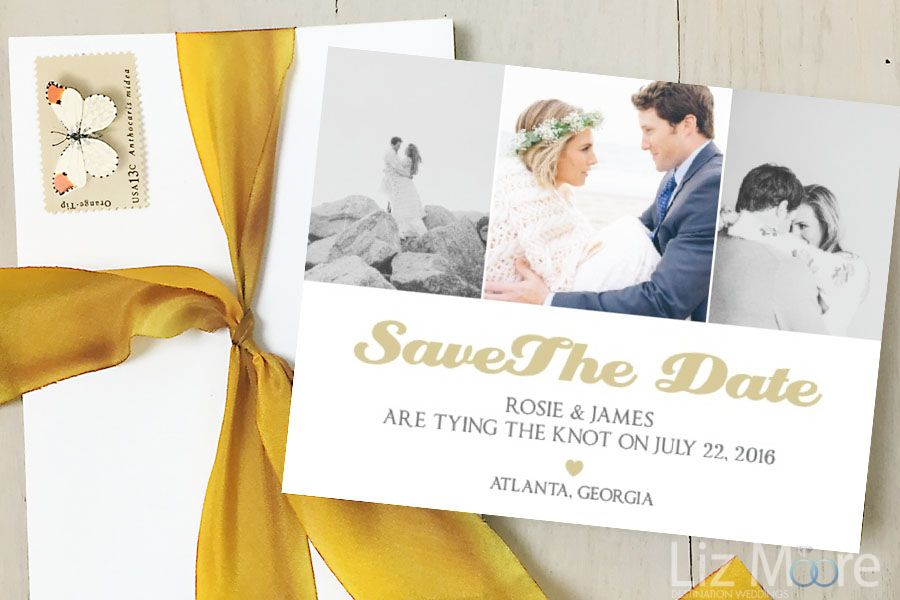 Wedding guest book and matching save the date