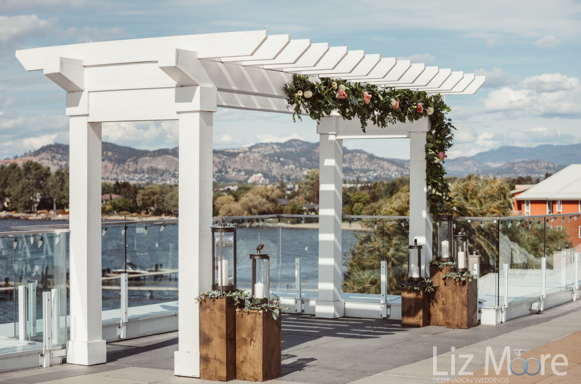 what are gazebo located on the main deck overlooking the lake and mountains