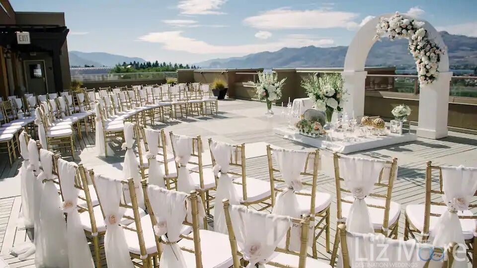 Main deck ceremony up with white and gold shares in view of Osoyoos lake in the background
