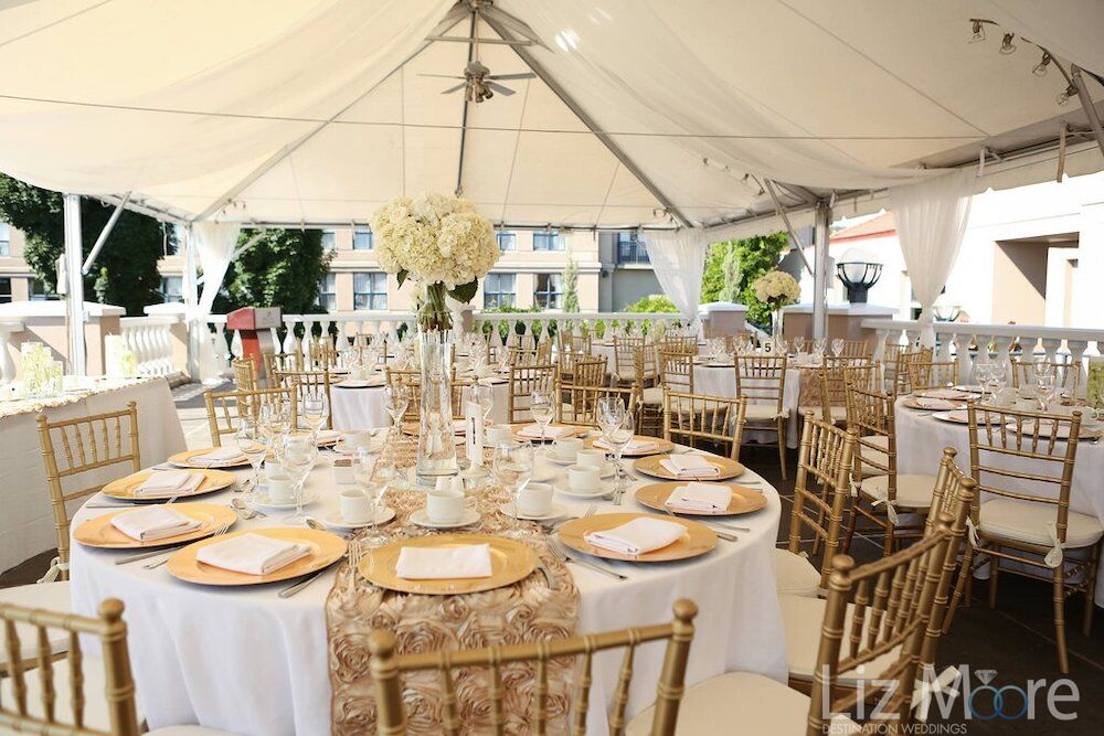 grand terrace-north south ballroom with tented ceiling and Gold and white table decor
