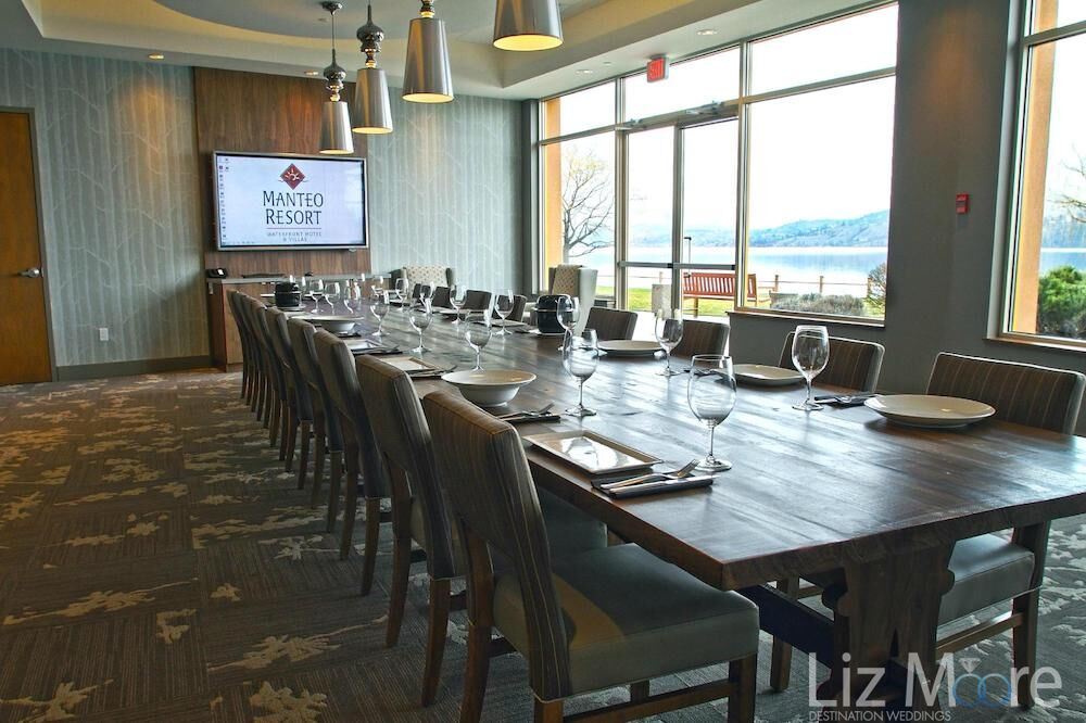 Restaurant dining room with table and chairs perfect for a rehearsal dinner