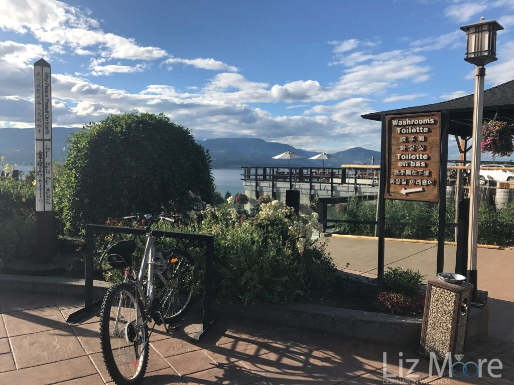 Outdoor garden is in bike rack overlooking the lake and right beside the main entrance