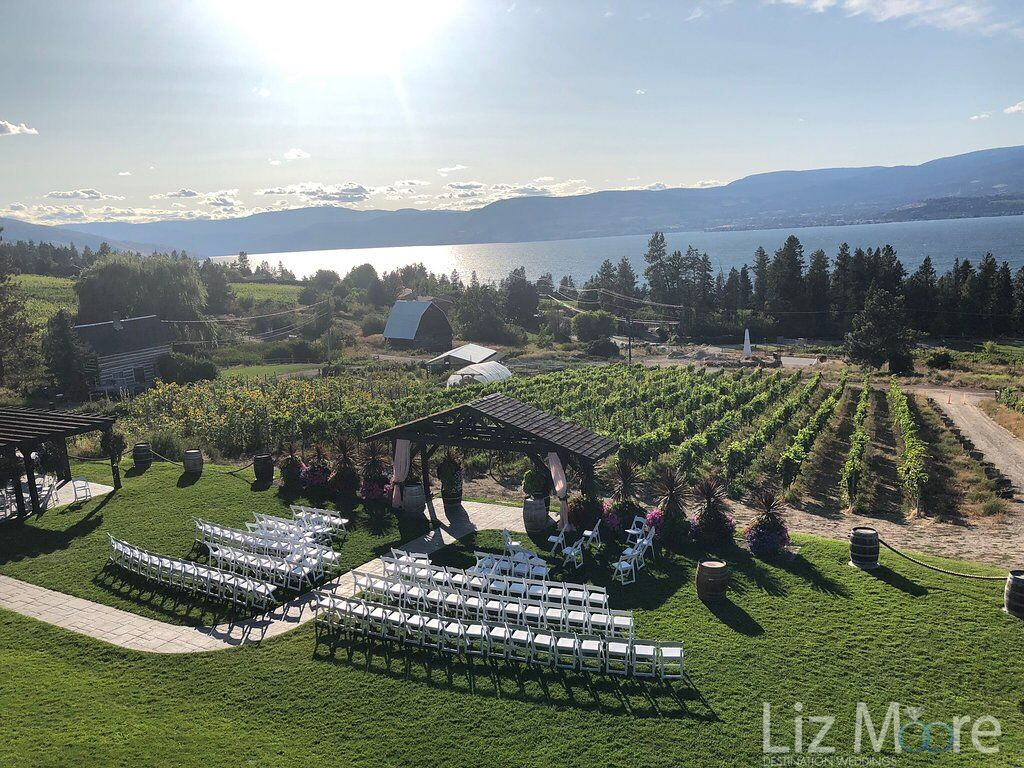 Aerial view of vineyards and ceremony set up underneath the gazebo with a lake in the background