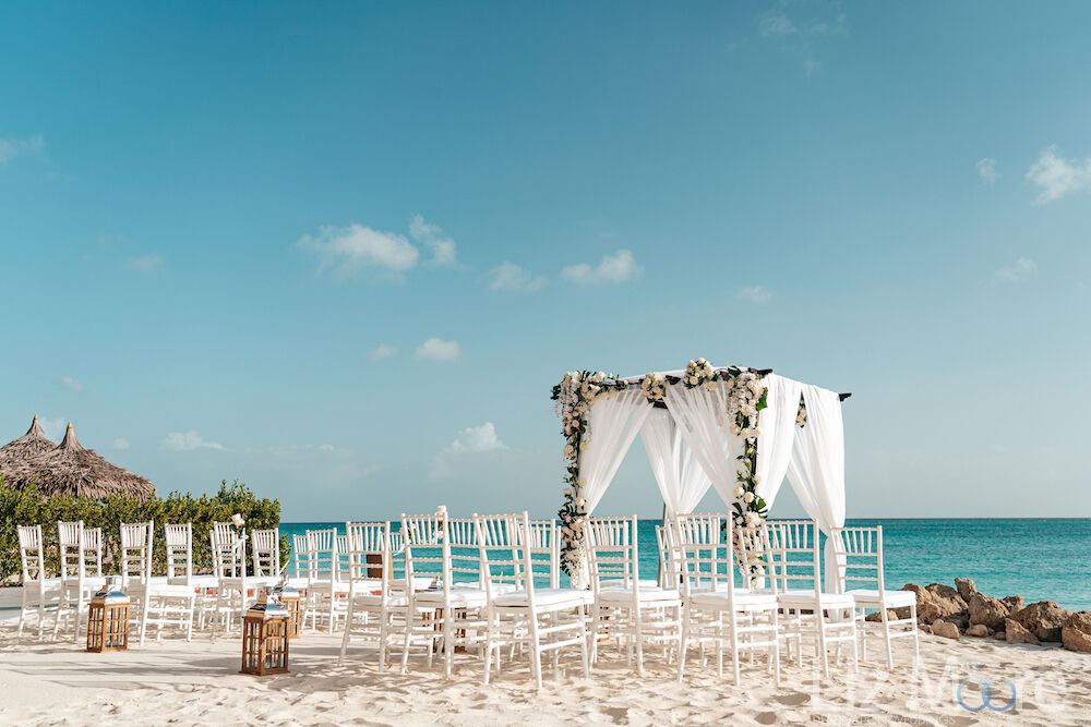 beautiful romantic Aruba ceremony set up on the beach